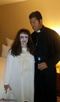 Hallowen Costume Couples Heather: The scariest of all scary! Being a fan of horror The Exorcist, for me, tops them all. This costume was so easy and the makeup was so much fun! Hallowen Costume, Halloween Costume Contest, Couple Halloween Costumes, Scary Couples Halloween Costumes, Scariest Halloween Costumes Ever, Costume Ideas, Halloween Decorations, Awesome Costumes, Woman Costumes