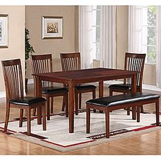 6-Piece Dining Set With Slat Black Chairs