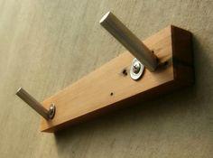 Double Towel Hook in Reclaimed Wood, Modern Bath Decor | Andrews-Reclaimed - Housewares on ArtFire