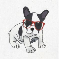 Illustrated French Bulldog card by Illustratedcards @ etsy.com ; I have bought this card from IllustratedCards and it was simply perfect!!  #frenchbulldog #frenchie #french #bulldog #love #card #sunglasses #etsy
