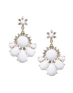 6x3.8cm Elegant White Resin Flower Shaped Earring Inlay Crystal Women Ladies Jewelry Earrings