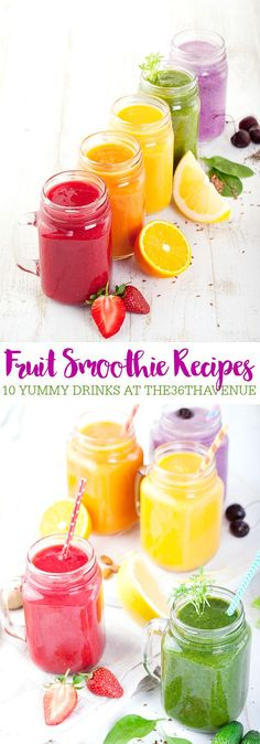 Smoothie Recipes that are a great alternative to ice cream or shakes and a perfect choice for breakfast or a healthy snack.Fruit Smoothie Recipes that are a great alternative to ice cream or shakes and a perfect choice for breakfast or a healthy snack. Healthy Fruit Smoothies, Fruit Smoothie Recipes, Fruit Drinks, Healthy Fruits, Fruit Recipes, Yummy Drinks, Healthy Drinks, Healthy Snacks, Healthy Detox