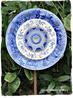 Blue and White Plate Flower Garden Stake  by GardenWhimsiesByMary