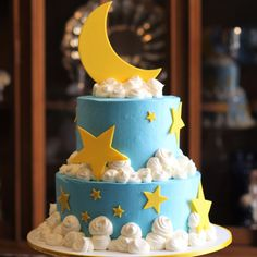 Moon and stars baby shower cake - Baby Shower Decors Space Baby Shower, Baby Shower Fun, Baby Shower Cakes, Baby Shower Themes, Baby Shower Gifts, Shower Ideas, Baby Bash, Baby Party, Christening Cake Boy