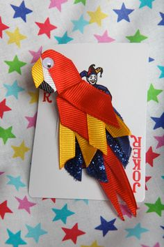 Mac the Macaw Parrot Ribbon Sculpture Hair Clip by lemonsnicker, $7.50