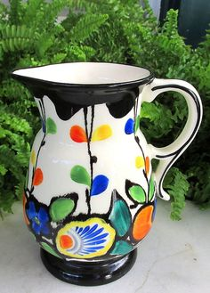COLORFUL CZECH DITMAR URBACH POTTERY PITCHER W/ FLOWERS & VINES