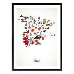 Cuadro enmarcado Spain crudo y rojo  70 x 1,6 x 50 cm