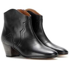 Isabel Marant Étoile Dicker Leather Ankle Boots ($635) ❤ liked on Polyvore featuring shoes, boots, ankle booties, black, ankle boots, leather bootie, black boots, short leather boots and black ankle booties
