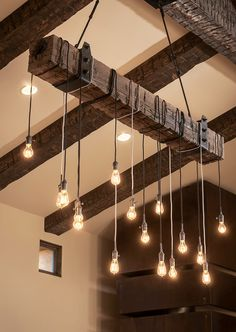 What about taking these kind of bulbs and hanging them from the beams for cool lighting?