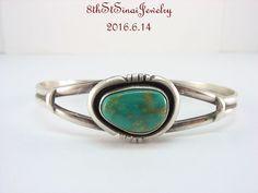 Estate NAVAJO E. DELGARITO Sterling Silver 925 Turquoise Cuff Bracelet #EDELGARITO