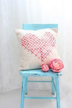 Faux Cross Stitch Heart Pillow
