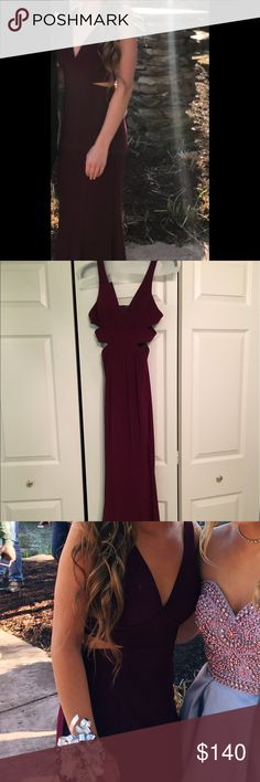 faviana bordeaux prom dress wine colored long prom dress with cutout sides Faviana Other