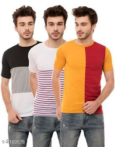 Tshirts Men's Cotton Blend T-shirts  ( Pack Of 3 ) Fabric: Cotton Blend Sleeves: Half Sleeves Are Included Size: S M L XL (Refer Size Chart)  Length: Refer Size Chart Fit: Regular Fit Type: Stitched Description: It Has 3 Pieces of Men's T-Shirts Pattern: Solid Country of Origin: India Sizes Available: S, M, L, XL   Catalog Rating: ★4.1 (546)  Catalog Name: Trendy Men's Cotton Blend T-shirts Combo Vol 3 CatalogID_288025 C70-SC1205 Code: 794-2169576-9621