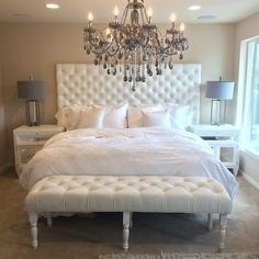 Bedroom With Tufted Headboard Bench White Bed Linens The Chandelier Gives Final Touch Of Glam