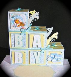 - New Baby Boy 5 sheet kit.This creates a quick and easy card in minutes with decorative front and back.Kit Card F. 3d Cards, Pop Up Cards, Folded Cards, Step Cards, 3d Paper Crafts, Shaped Cards, New Baby Boys, Card Patterns, Baby Scrapbook