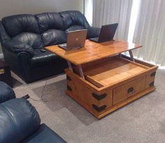 Clever idea for multi-function furniture. http://dornob.com/liftoff-diy-coffee-table-with-extending-laptop-holding-top/