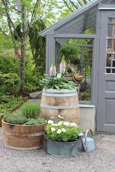as decor Wood frame green house barrels as decor Wood frame green house 49 Simple, Easy And Cheap DIY Garden Landscaping Ideas ~ How To Turn Your Backyard into an Outdoor Room Garden Cottage, Home And Garden, Diy Garden, Garden Sheds, Garden Planters, Flower Planters, Shade Garden, Flower Pots, Shed Decor