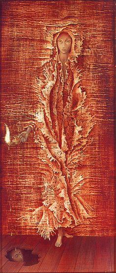 Remedios Varo, Luz Emergente, 1962. Oil on masonite.