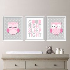 Whimsy Hoot Owl Good Night Print Trio - Bedroom. Home. Art.  Decor Nursery. Girl…