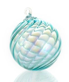 """""""Aquamarine"""" #art glass #ornament by Dale Leman. Ribbed spirals fan out across this blown glass sphere, creating a fascinating play of light in iridescent sky blue glass."""