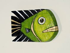 Marc Deloach handmade this wood fish from barnwood he salvaged in Vermont. I, Christine Schultz, hand painted it in olive green, gold, and black acrylics. Its the perfect gift for a friend, a relative, or yourself. No two are the same. This listing is for one. Dimensions: 12 long x 8 tall