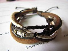 Jewelry Bangle bracelet women Leather Bracelet Girl Ropes Bracelet Men Leather Bracelet 303A. $4.50, via Etsy.