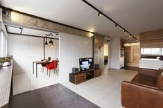 13 SMALL Homes so beautiful you won't believe they're HDB flats Small Space Living, Living Spaces, Living Rooms, Interior Design Singapore, White Brick Walls, Inspired Homes, Design Firms, Living Room Designs, House Design