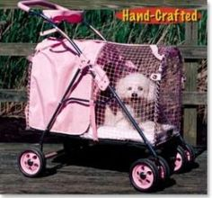 The fifth Ave Pet Stroller SUV in Pink.  It's 30% bigger, with larger, higher traction tires, and has more head room. For Dogs up to 50 pounds