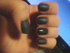 Asphalt grey shellac gel polish with matte top coat and ring finger glossy accent by Crystal