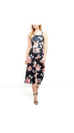 19e7de4574ed Black Floral Print High Neck Culotte Jumpsuit