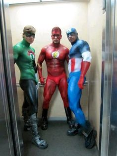 help! help!  save me super men with painted bodies wearing nothing but boots and speedos!