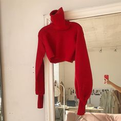 Chunky Knit Cherry Red