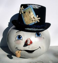 cute christmas gourds | gourd snowman crafted from a dried bushel gourd he is accented with a ...