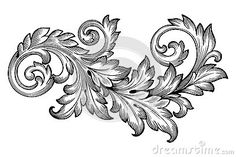 Illustration of Vintage baroque frame scroll ornament engraving border floral retro pattern antique style acanthus foliage swirl decorative design element filigree calligraphy vector vector art, clipart and stock vectors. Baroque Frame, Motif Baroque, Victorian Frame, Baroque Pattern, Vintage Embroidery, Embroidery Designs, Karten Tattoos, Motifs Islamiques, Filigree Tattoo