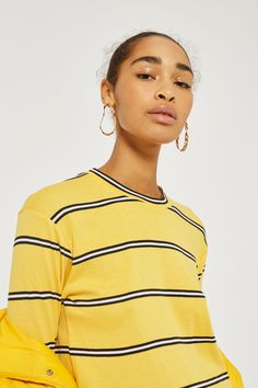 Yellow Striped Long Sleeve Crew Neck Top - Topshop Europe