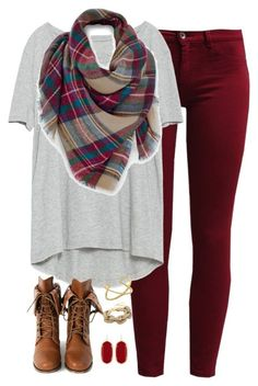 grey tee + maroon pants + blanket scarf + cognac booties