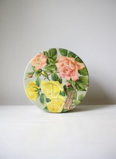 SALE English rose biscuit tin/ large round by RetroandRosesvintage