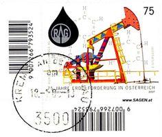 """Briefmarke """"75 Jahre Erdölförderung in Österreich"""""""
