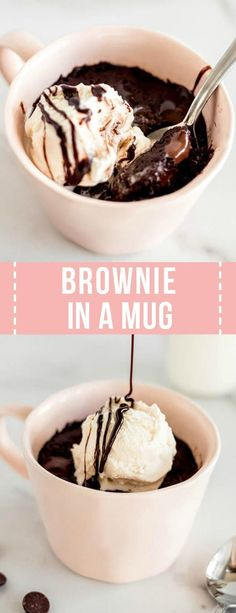 microwave dessert Chocolate Mug Brownie Recipe made in the microwave is a quick and easy way to satisfy your chocolate craving. This dessert is ready in only 5 minutes! Chocolate Mug Brownies, Chocolate Mugs, Chocolate Recipes, Dessert Chocolate, Chocolate Lovers, Chocolate Chips, Desserts Keto, Easy No Bake Desserts, Easy Microwave Desserts