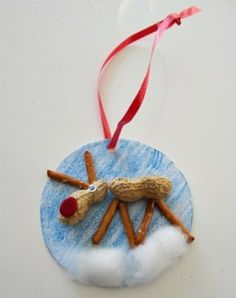 Homemade Christmas Ornaments | Homemade Christmas Ornament Craft & Rudolf Song | Kiboomu Kids Crafts