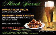 We are back open for the season with great Monday and Wednesday night specials.