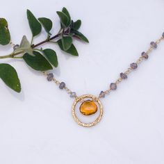 Citrine Necklace  November Birthstone Necklace  Wire by delezhen