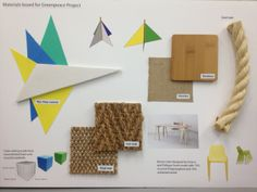 College project - materials board for a concept beach structure for Greenpeace