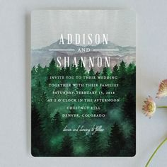 """""""Adventure Awaits"""" - Rustic Wedding Invitations in Smoke by Elly."""