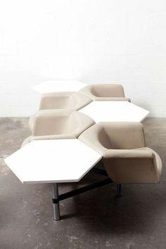 Geoffrey Harcourt for Artifort Hexagon Seating System Modular Furniture, Design Furniture, Furniture Plans, Chair Design, Vintage Furniture, Modern Furniture, Home Furniture, Interior Exterior, Interior Design