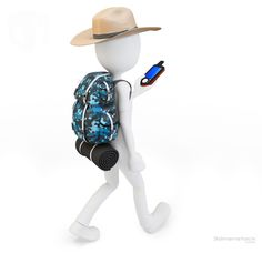 man traveler with portable gps device Little Man, Little People, Stock Character, 3d Icons, 3d Man, Emoji Images, White People, Stick Figures, White Man