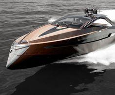 Modern mahogany yacht