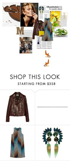 """""""Never touch anything with half of your heart"""" by la-rosy ❤ liked on Polyvore featuring Yves Saint Laurent, Missoni, LIST, DANNIJO, orange, leatherjacket, brown and spring2018"""