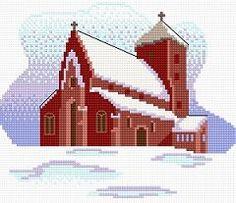 esquema punto de cruz gratis en pdf para bordar iglesia nevada