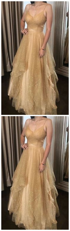 Champagne tulle long prom dress champagne tulle formal dress by olesaweddingdresses, $140.21 USD Classy Prom Dresses, Prom Party Dresses, Sexy Dresses, Evening Dresses, Fashion Dresses, Formal Dresses, Fashion Days, Evening Party, Spaghetti Straps